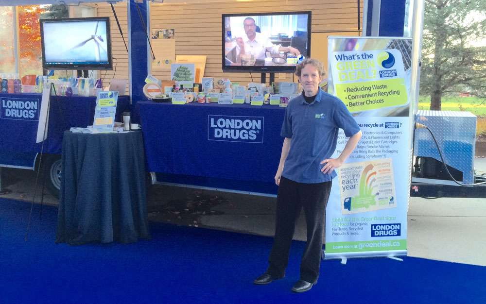 Green Deal Sustainability Consultant Lorne Craig with the Community Events Trailer at the 2015 London Drugs Partnership Show